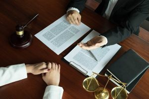 Picture of client speaking to attorney